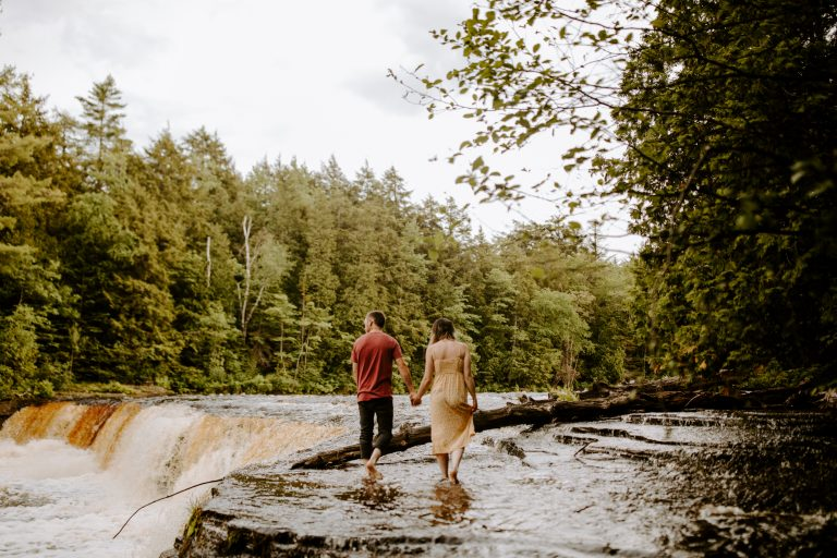 Adventure Engagement Waterfall Session at Tahquamenon Falls