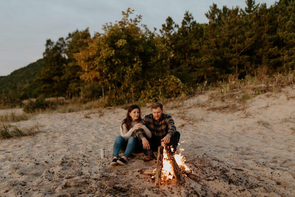 Michigan campfire engagement photos