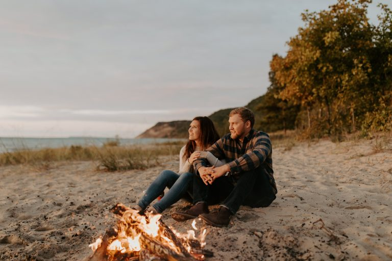 Michigan campfire engagement photos