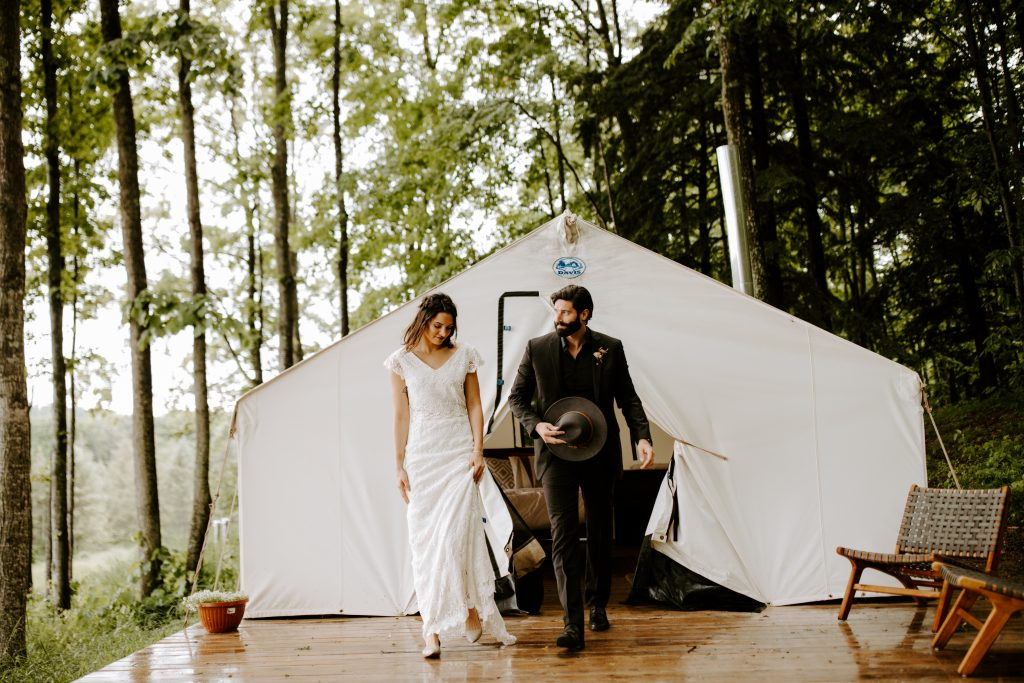 Tent glamping wedding in the woods