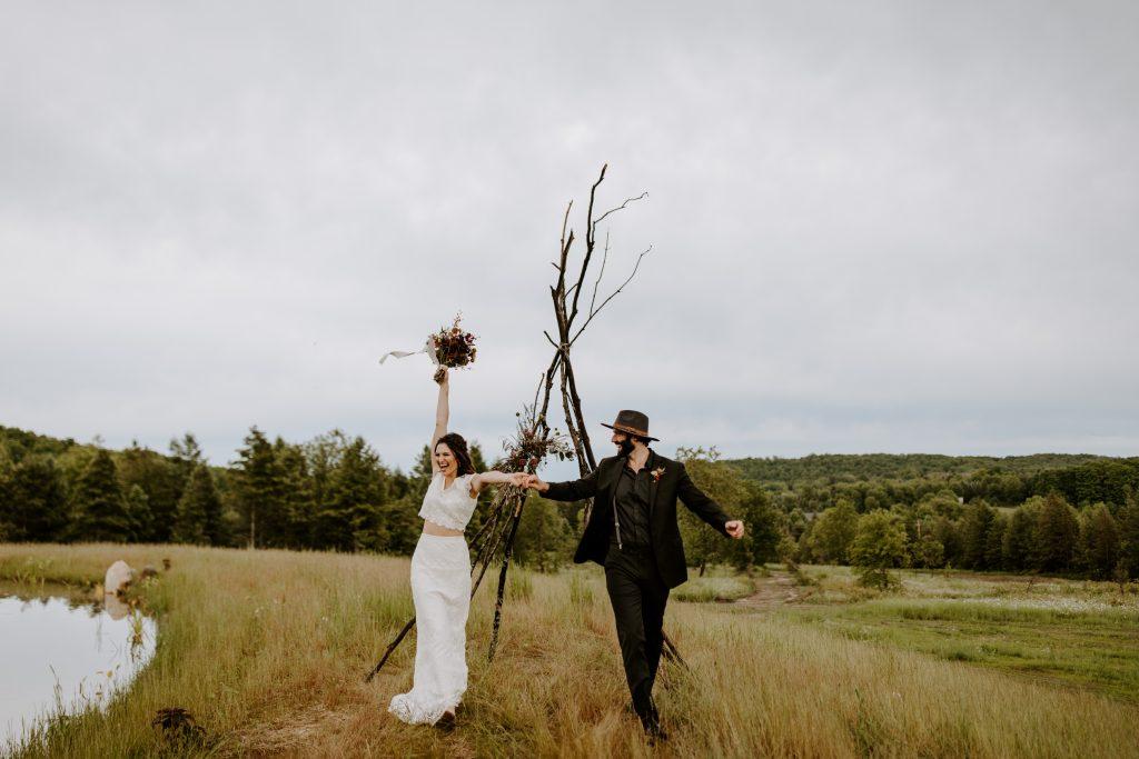 Boho woodsy elopement in Michigan