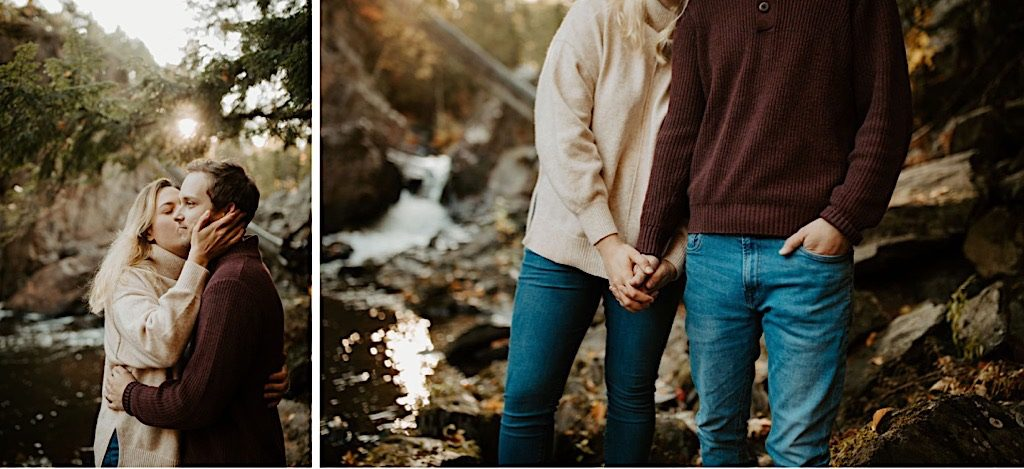 Michigan waterfalls couples engagement photos