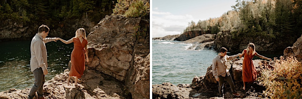 Black Rocks Michigan outdoor engagement session