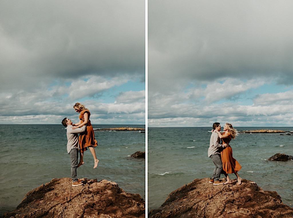 Michigan's Upper Peninsula Black Rocks engagement photos