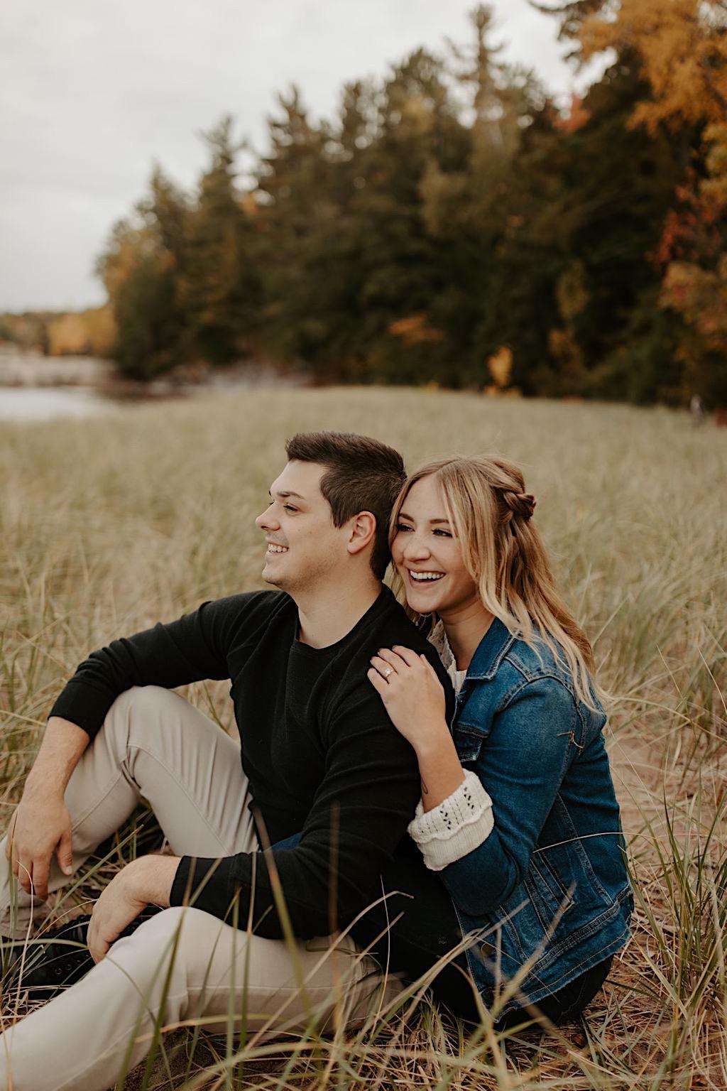 Engagement photos at Hidden Beach in Michigan UP